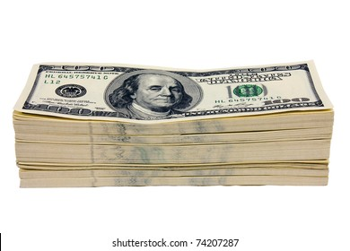 Stack of money on white isolated background