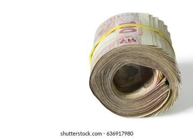 A stack of money for one hundred hryvnia isolated on white background