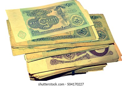 stack of money ussr isolated on white background. Money from the Communist countries: CCCP SSSR , money background