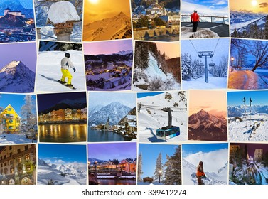 Stack of mountains ski Austria images - nature and sport background (my photos)