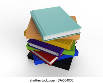 Stack of multi colored books. Business or education concept, 3d illustration