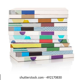 Stack of multicolored magazines