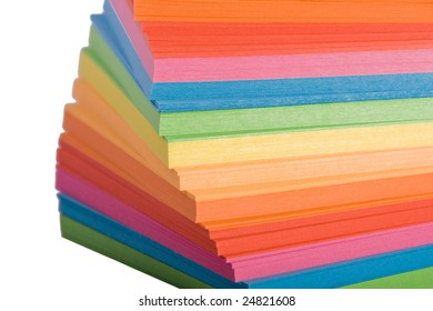 Stack of multicolored notes paper   on white background
