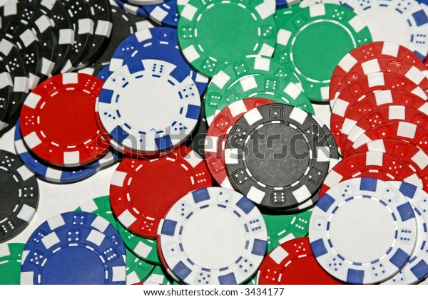 Stack of Multi-Colored Poker Chips