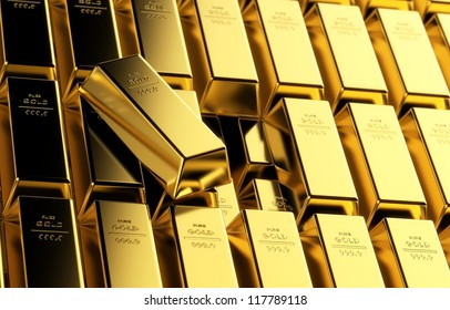 Stack of multiple gold bars