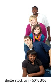 A stack of multi-racial college student/friends on a white background with copy space