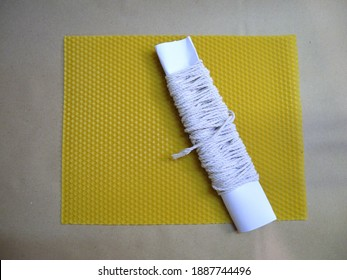 Stack of natural bee wax sheets. Natural candles, fragrant with honey, will be made from these sheets