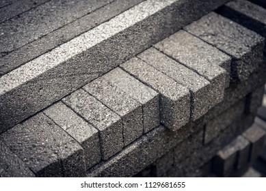 Stack  of natural stone bricks in Bali, Indonesia