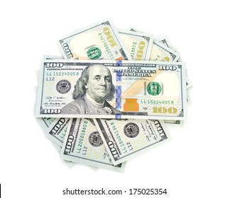 Stack of New One hundred dollars shape circle on white background .
