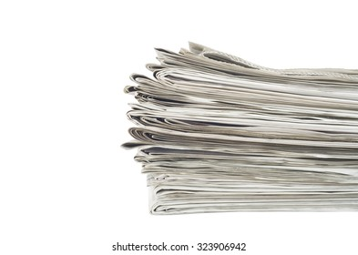 stack of newspapers, close up, isolated on white back,free copy space