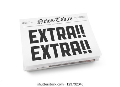 "A stack of newspapers with headline ""Extra Extra"". Isolated on white."