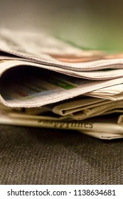 stack of newspapers paper edition news source sports events life of secular people gossip background design