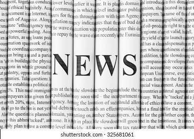 """Stack of newspapers with small text and big letters forming together word """"NEWS"""""""