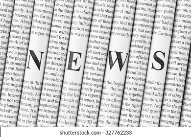 "Stack of newspapers with small text and big letters forming together word ""NEWS"""
