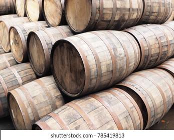 Stack of oak Whiskey barrels, Scotland 2017