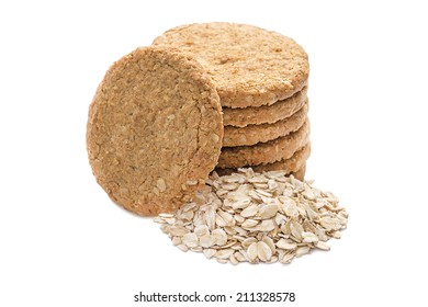 A stack of Oatmeal cookies isolated on a white.