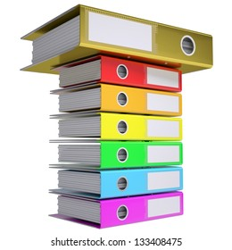 A stack of office folders, folder golden on top. Isolated render on a white background