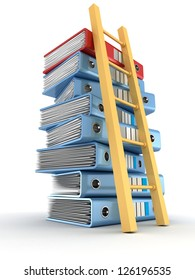 stack of office folders with wooden ladder