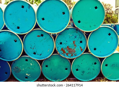Stack of  oil barrel use for background process in vintage style