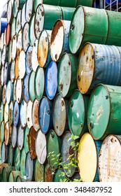 stack of oil barrels