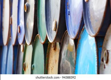 the stack of oil barrels