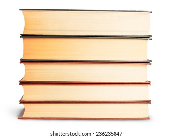 Stack Of Old Books Front View Isolated On White Background