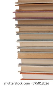 stack of Old books isolated on white. stack of books on a white background. Books thin small