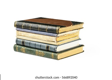 A stack of old books on isolated white background