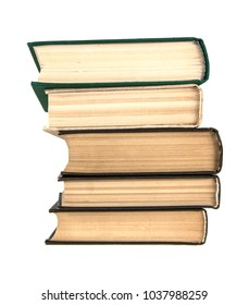 stack of old books on white isolated background