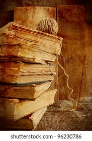 Stack of old books. Stylized as old vintage photos