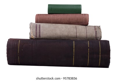 The stack old different books type with side isolated on white
