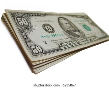 Stack of old fifty-dollar bills isolated on white background ** Note: Shallow depth of field
