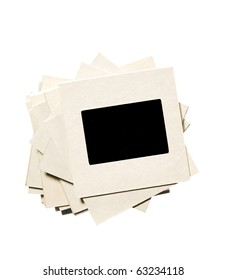 stack of old film slides, isolated on white