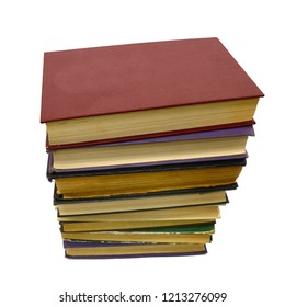 stack old hardcover books, isolated