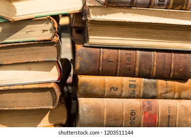 Stack of old law books