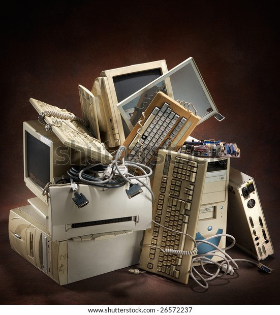 stack of old and obsolete computer equipment