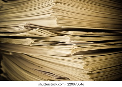 Stack of old papers close-up