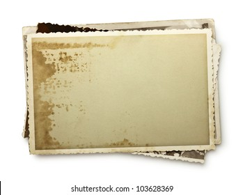 Stack of old photos with clipping path inside and outside