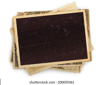 Stack of old photos isolated