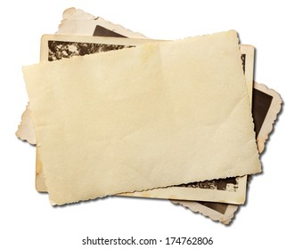 Stack of old photos isolated on white with clipping path included