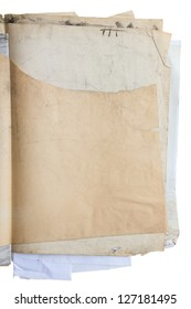 Stack of old shabby paper   with dirty stains