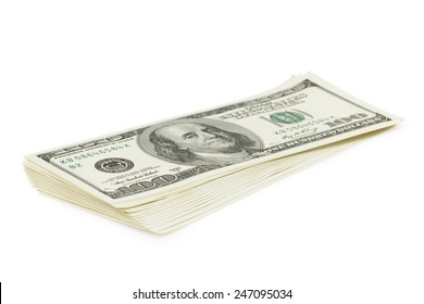 Stack of old style one hundred dollars bank notes isolated on white background