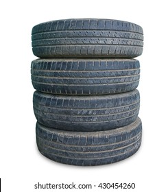 stack of old tire on white background