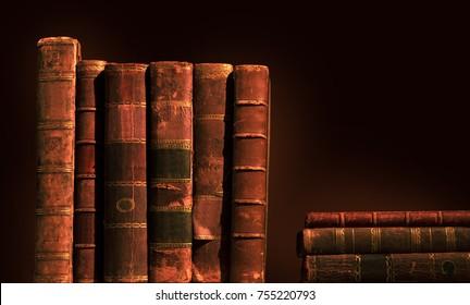 Stack of old vintage books