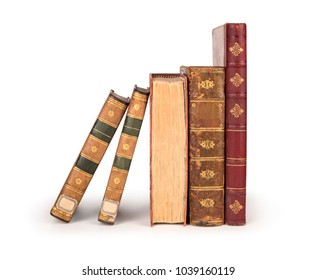 stack of old vintage books isolated