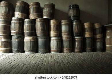 Stack of old wooden barrels