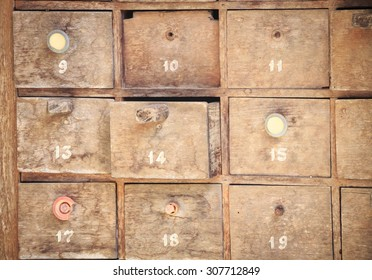 Stack of old wooden drawers
