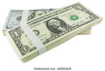 stack of one dollar bills and one hundred dollar bills hangs over each other isolated on white background, concept of falling business giants