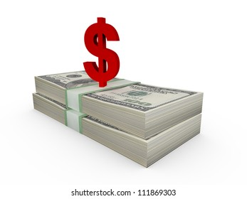 Stack of one hundred dollar bills and red dollar sign, isolated on white.