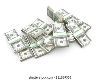 Stack of one hundred dollar bills on white background.